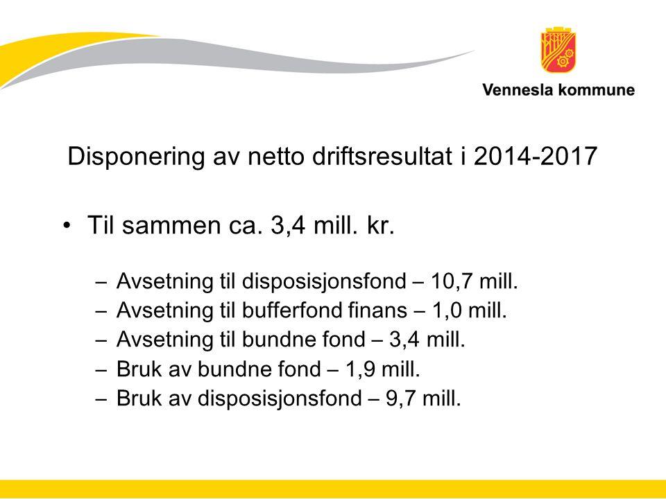Disponering av netto driftsresultat i 2014-2017