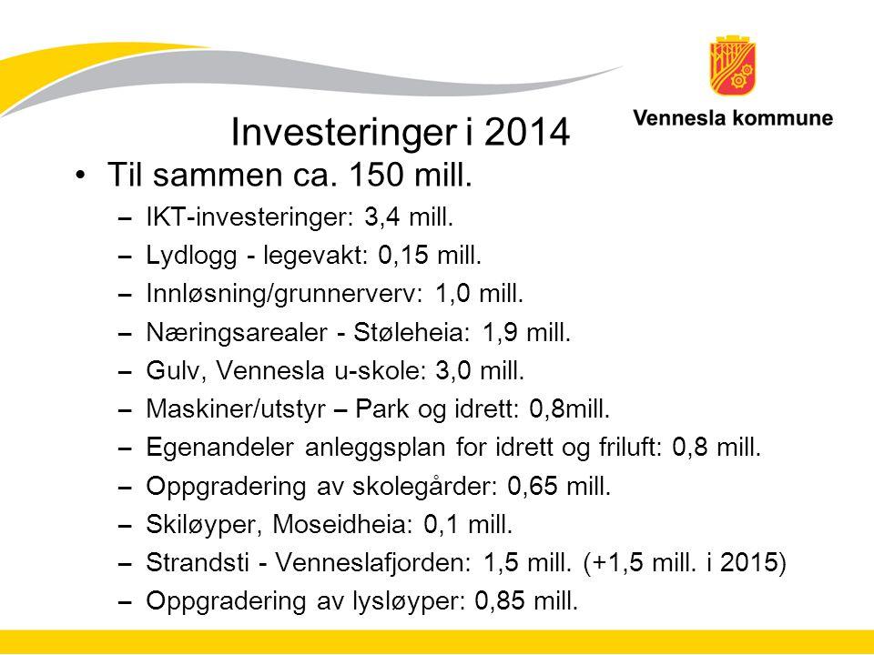 Investeringer i 2014 Til sammen ca. 150 mill.