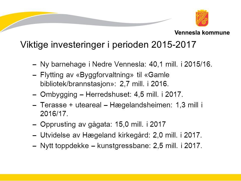 Viktige investeringer i perioden 2015-2017