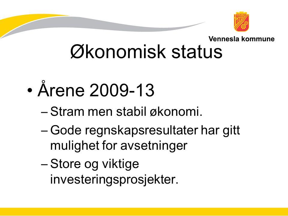 Økonomisk status Årene 2009-13 Stram men stabil økonomi.
