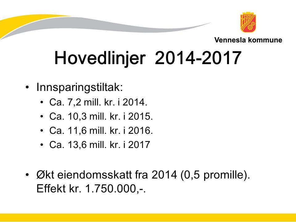 Hovedlinjer 2014-2017 Innsparingstiltak: