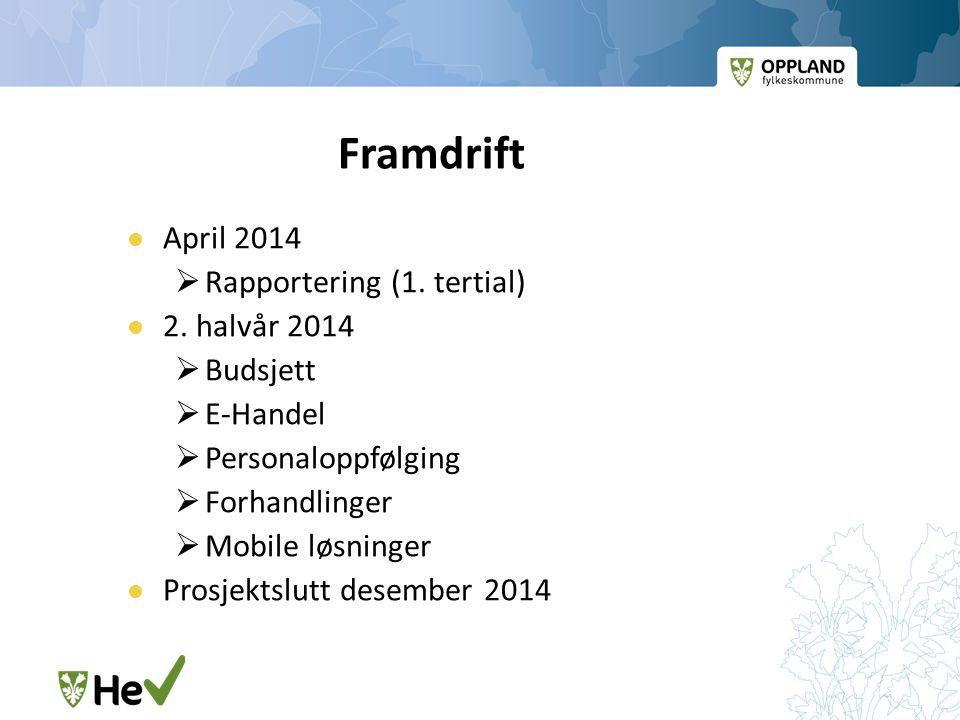Framdrift April 2014 Rapportering (1. tertial) 2. halvår 2014 Budsjett