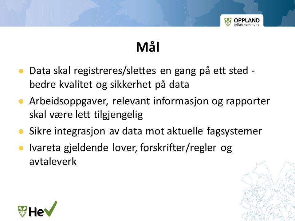Mål Data skal registreres/slettes en gang på ett sted - bedre kvalitet og sikkerhet på data.