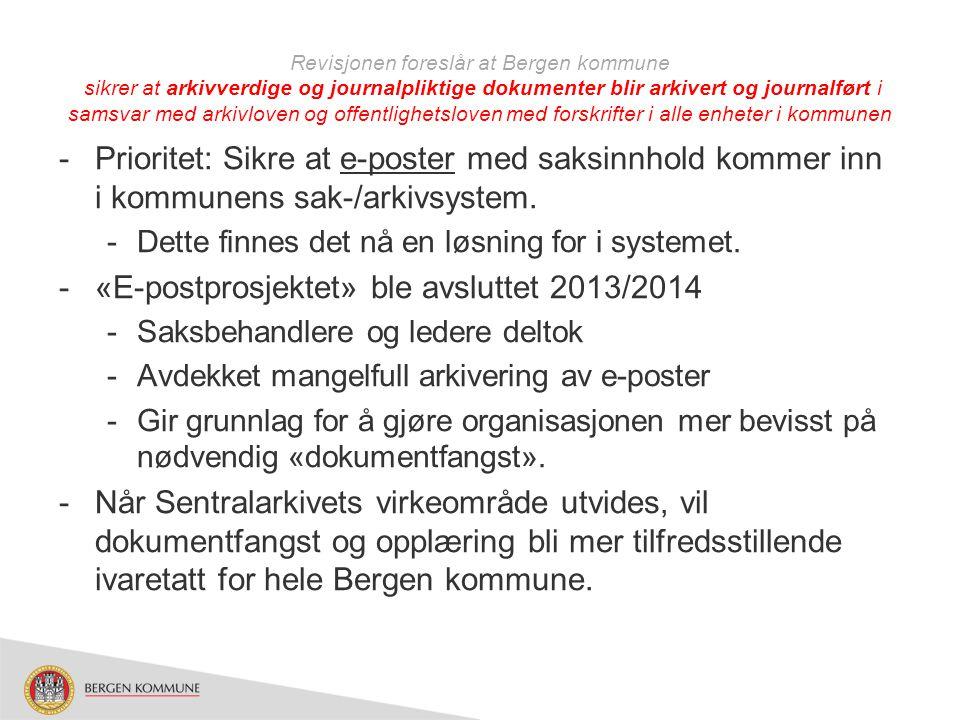«E-postprosjektet» ble avsluttet 2013/2014