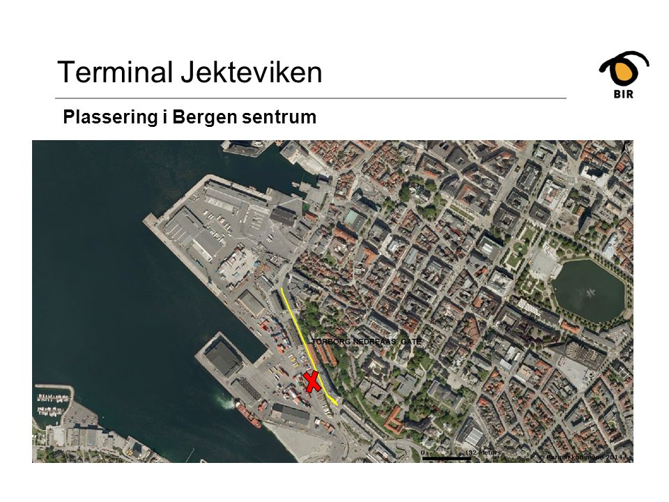 Terminal Jekteviken Plassering i Bergen sentrum