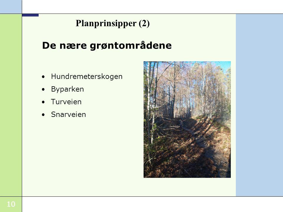 Planprinsipper (2) De nære grøntområdene Hundremeterskogen Byparken
