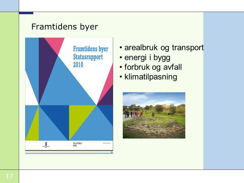Framtidens byer arealbruk og transport energi i bygg forbruk og avfall klimatilpasning
