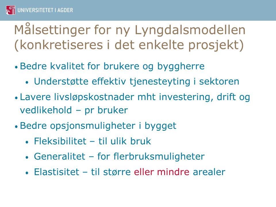 Målsettinger for ny Lyngdalsmodellen (konkretiseres i det enkelte prosjekt)