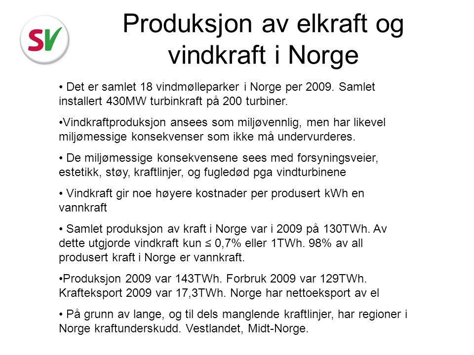 Produksjon av elkraft og vindkraft i Norge