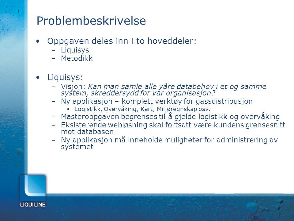 Problembeskrivelse Oppgaven deles inn i to hoveddeler: Liquisys: