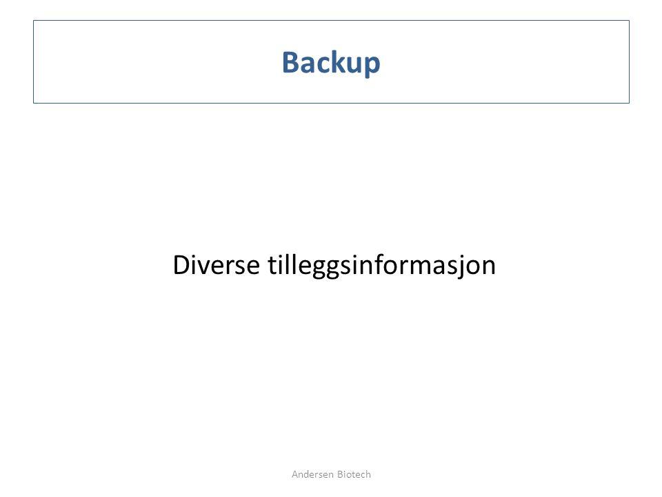 Backup Diverse tilleggsinformasjon Andersen Biotech