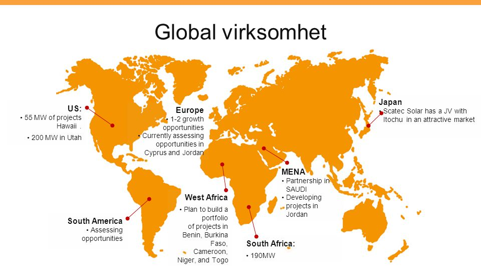 Global virksomhet Japan US: Europe MENA West Africa South America