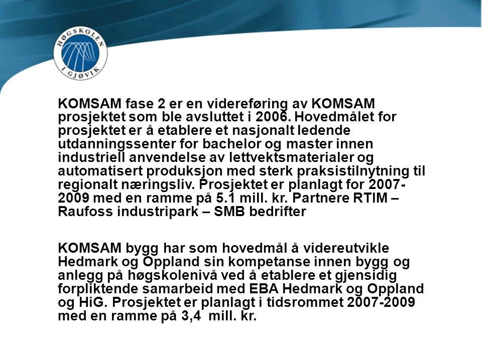 KOMSAM fase 2 er en videreføring av KOMSAM prosjektet som ble avsluttet i 2006. Hovedmålet for prosjektet er å etablere et nasjonalt ledende utdanningssenter for bachelor og master innen industriell anvendelse av lettvektsmaterialer og automatisert produksjon med sterk praksistilnytning til regionalt næringsliv. Prosjektet er planlagt for 2007-2009 med en ramme på 5.1 mill. kr. Partnere RTIM – Raufoss industripark – SMB bedrifter