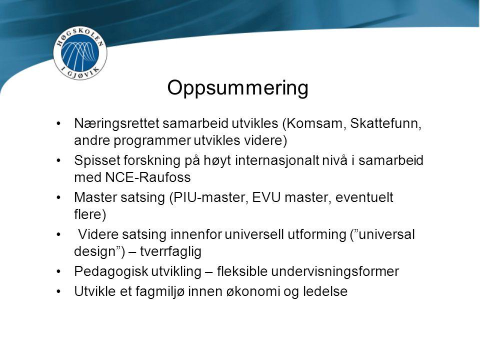 Oppsummering Næringsrettet samarbeid utvikles (Komsam, Skattefunn, andre programmer utvikles videre)