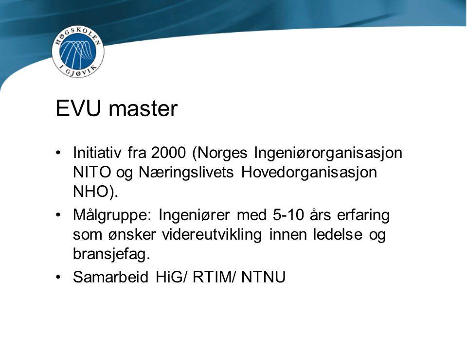 EVU master Initiativ fra 2000 (Norges Ingeniørorganisasjon NITO og Næringslivets Hovedorganisasjon NHO).