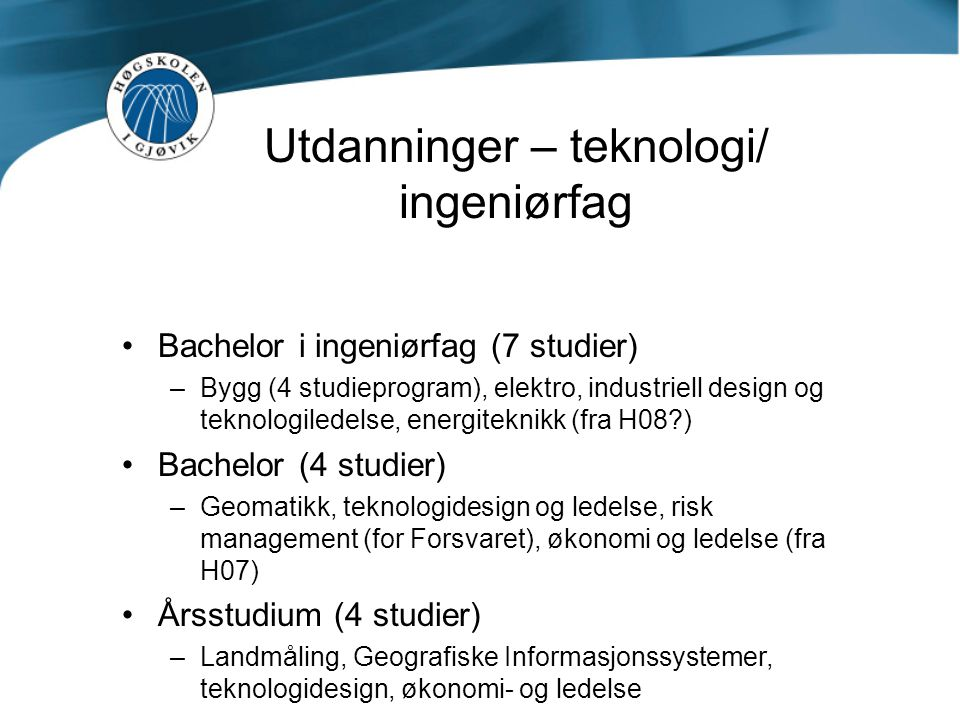 Utdanninger – teknologi/ ingeniørfag