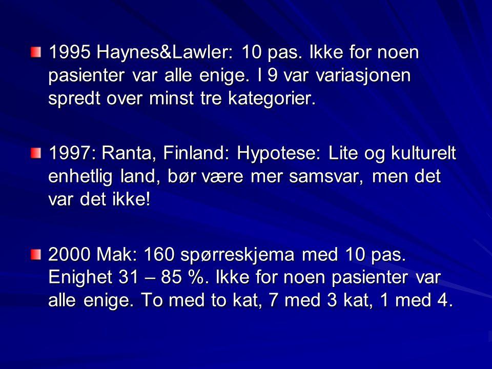 1995 Haynes&Lawler: 10 pas. Ikke for noen pasienter var alle enige