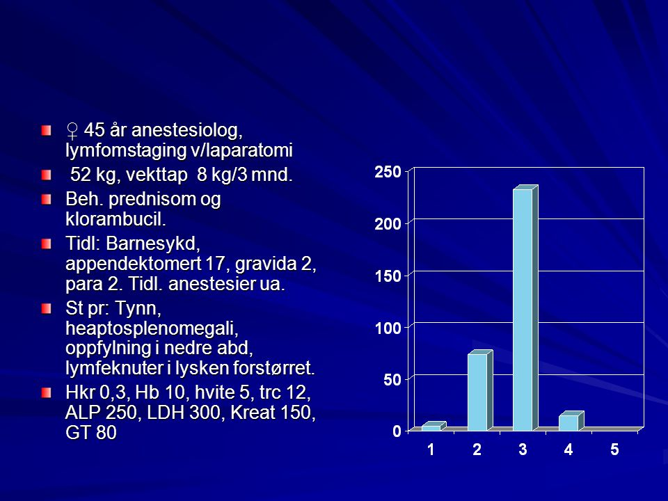♀ 45 år anestesiolog, lymfomstaging v/laparatomi