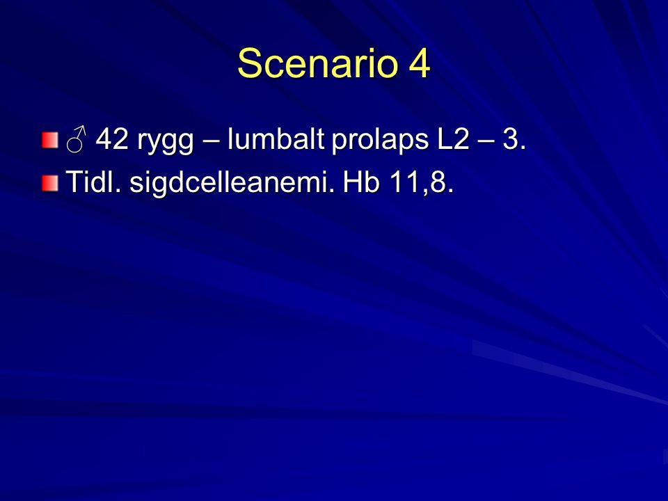 Scenario 4 ♂ 42 rygg – lumbalt prolaps L2 – 3.