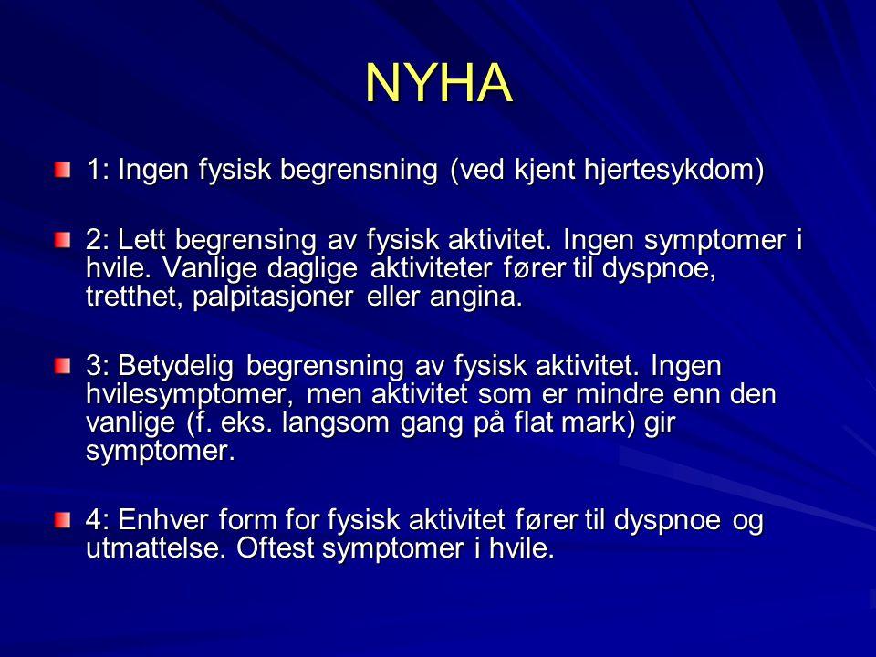 NYHA 1: Ingen fysisk begrensning (ved kjent hjertesykdom)