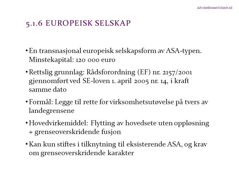 5.1.6 Europeisk selskap En transnasjonal europeisk selskapsform av ASA-typen. Minstekapital: 120 000 euro.