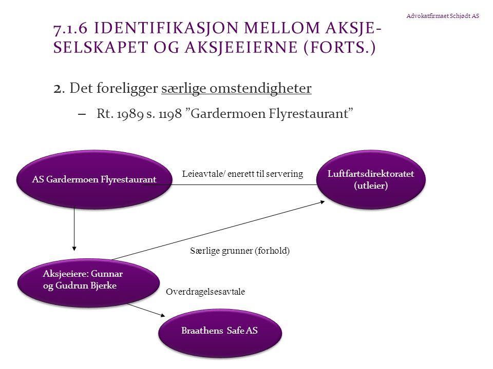 7.1.6 Identifikasjon mellom aksje-selskapet og aksjeeierne (forts.)