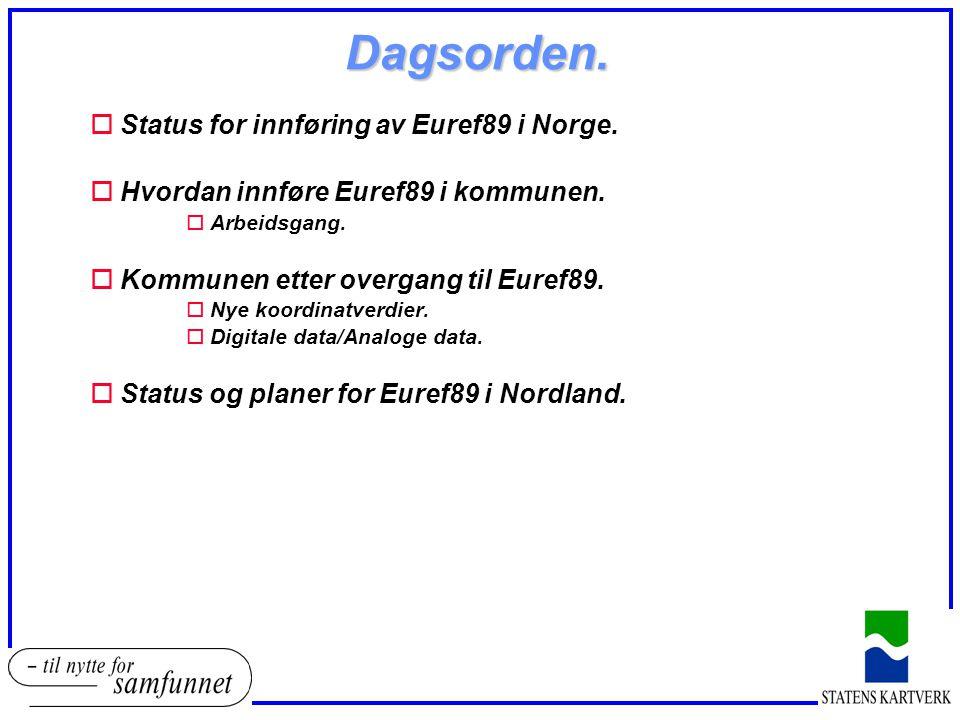 Dagsorden. Status for innføring av Euref89 i Norge.