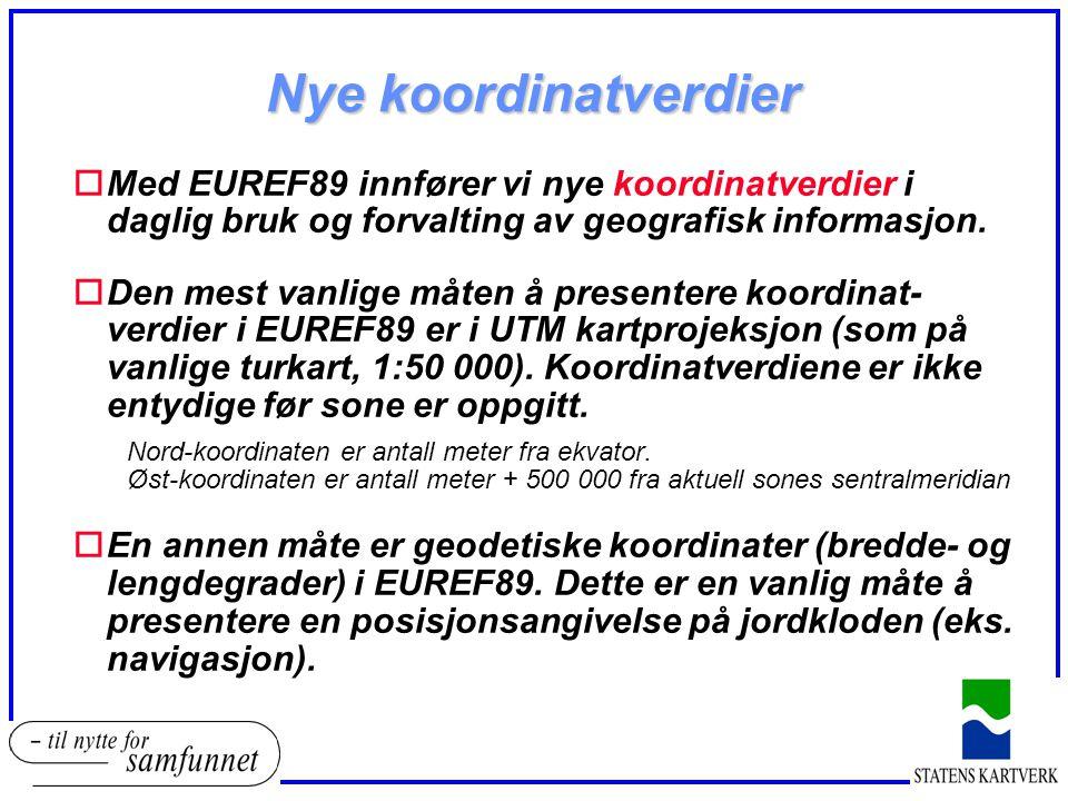 Nye koordinatverdier Med EUREF89 innfører vi nye koordinatverdier i daglig bruk og forvalting av geografisk informasjon.