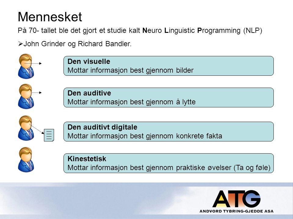 Mennesket På 70- tallet ble det gjort et studie kalt Neuro Linguistic Programming (NLP) John Grinder og Richard Bandler.