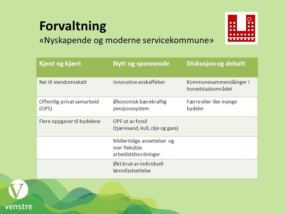 Forvaltning «Nyskapende og moderne servicekommune» Kjent og kjært