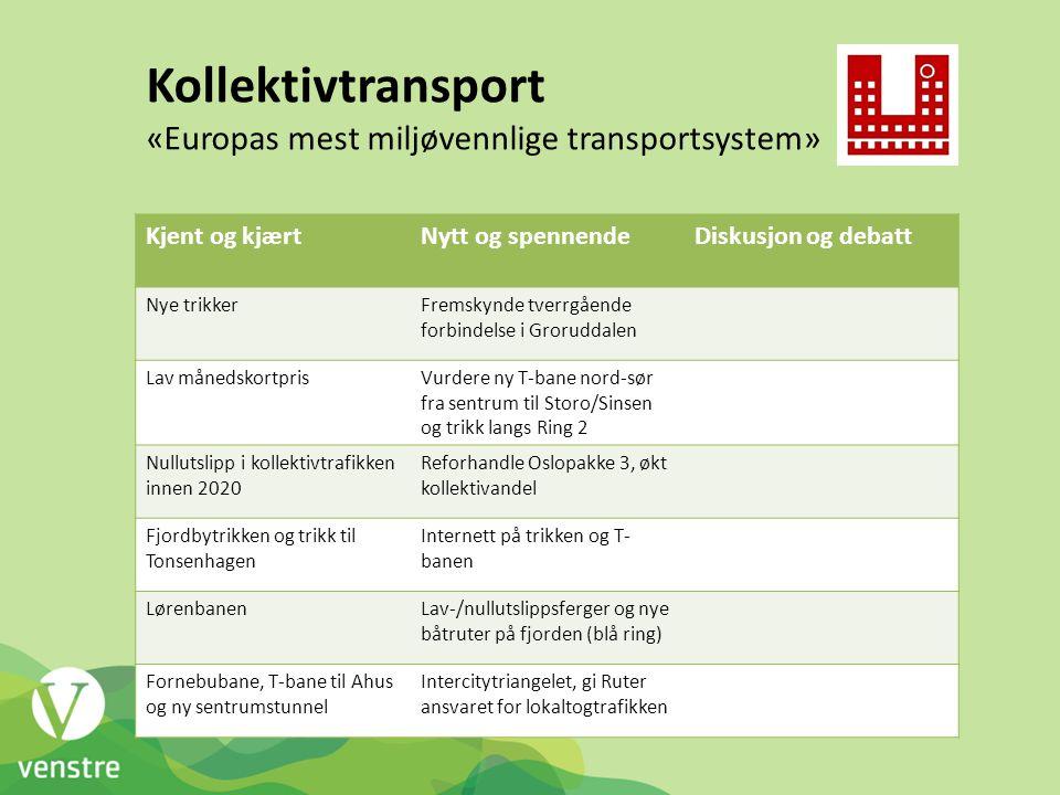 Kollektivtransport «Europas mest miljøvennlige transportsystem»