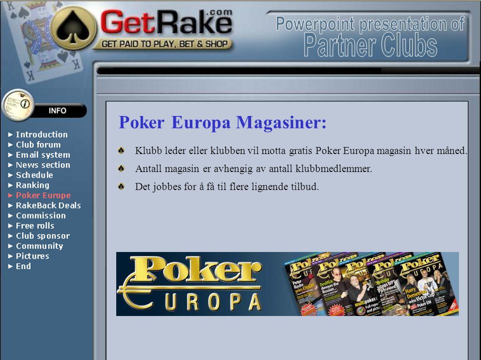 Poker Europa Magasiner: