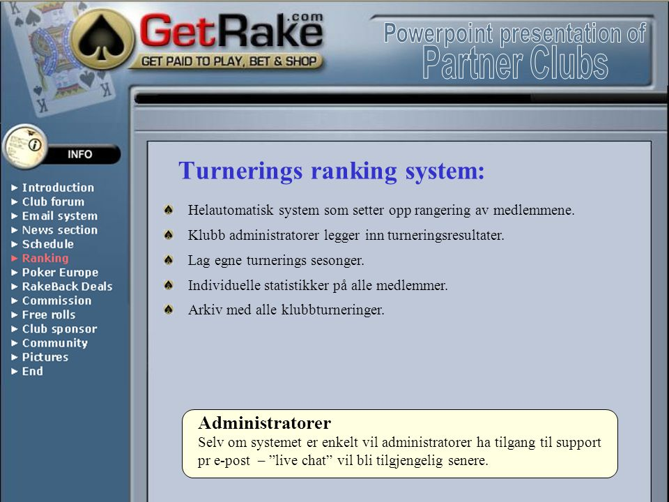 Turnerings ranking system: