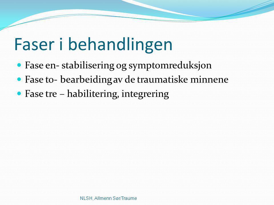 Faser i behandlingen Fase en- stabilisering og symptomreduksjon