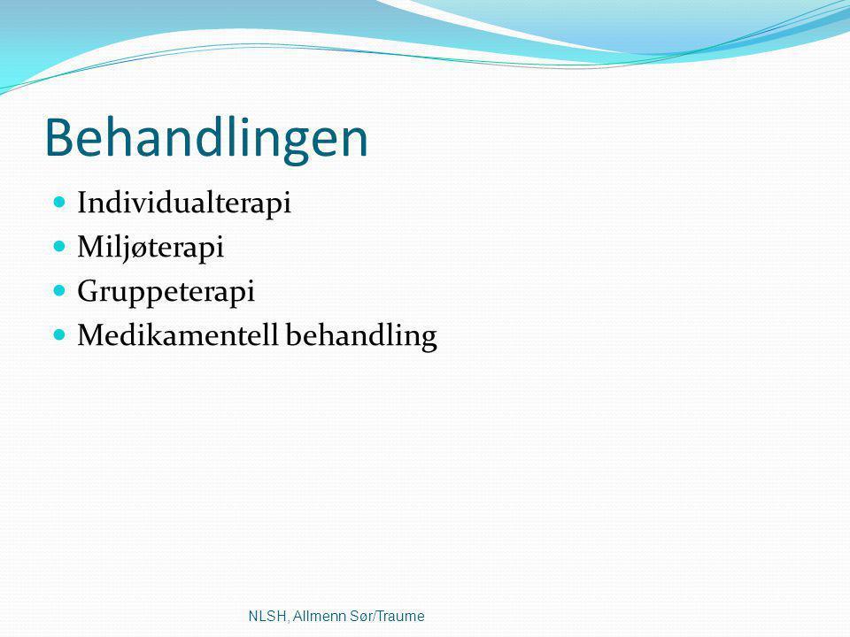 Behandlingen Individualterapi Miljøterapi Gruppeterapi