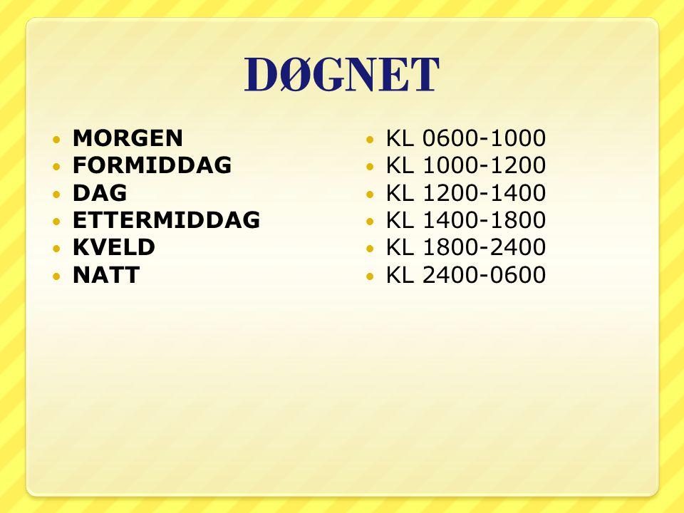 DØGNET MORGEN FORMIDDAG DAG ETTERMIDDAG KVELD NATT KL 0600-1000