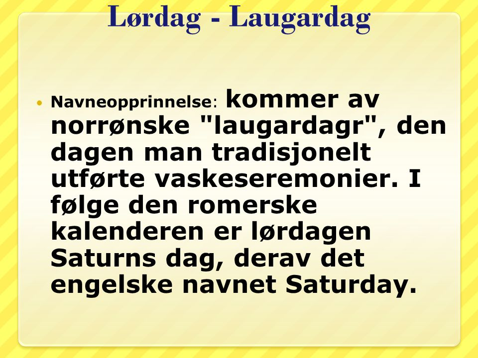 Lørdag - Laugardag