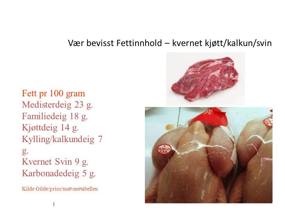 Vær bevisst Fettinnhold – kvernet kjøtt/kalkun/svin