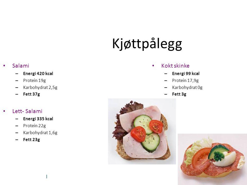 Kjøttpålegg Salami Lett- Salami Kokt skinke Energi 420 kcal
