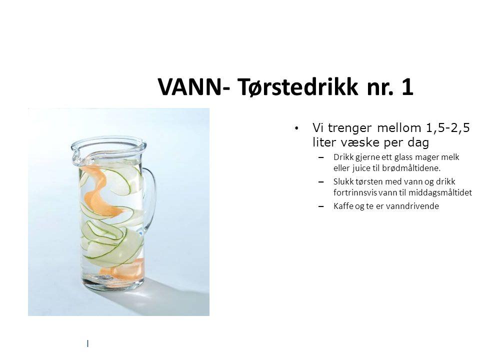 VANN- Tørstedrikk nr. 1 Vann er viktig!