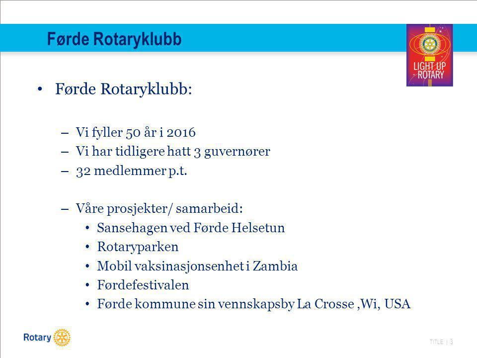 Førde Rotaryklubb Førde Rotaryklubb: Vi fyller 50 år i 2016