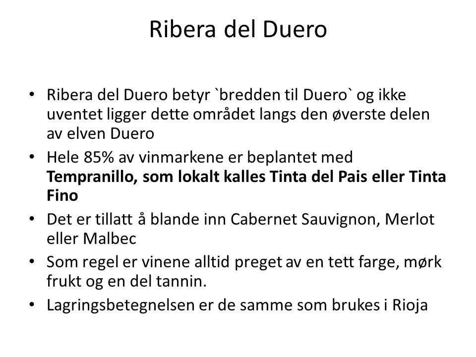 Ribera del Duero Ribera del Duero betyr `bredden til Duero` og ikke uventet ligger dette området langs den øverste delen av elven Duero.