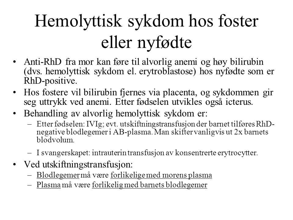 Hemolyttisk sykdom hos foster eller nyfødte