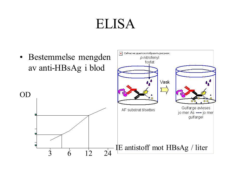 ELISA Bestemmelse mengden av anti-HBsAg i blod OD