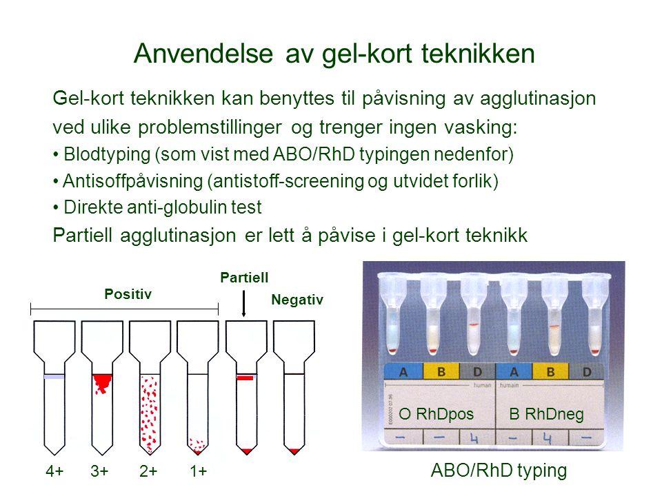 Anvendelse av gel-kort teknikken
