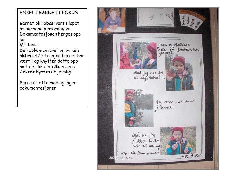 ENKELT BARNET I FOKUS Barnet blir observert i løpet av barnehagehverdagen. Dokumentasjonen henges opp på.