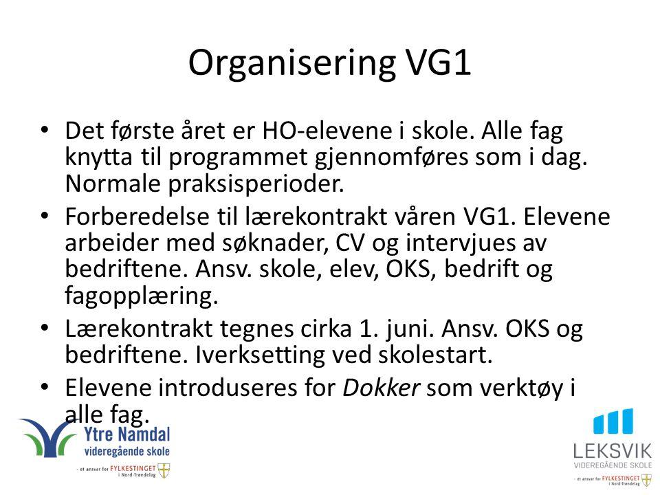 Organisering VG1 Det første året er HO-elevene i skole. Alle fag knytta til programmet gjennomføres som i dag. Normale praksisperioder.