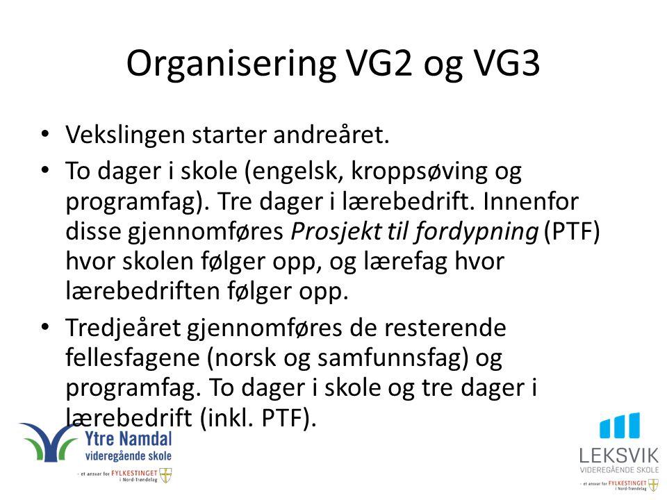 Organisering VG2 og VG3 Vekslingen starter andreåret.