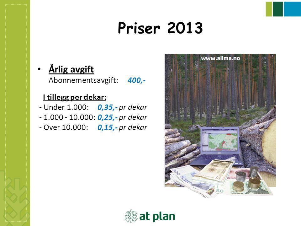 Priser 2013 Årlig avgift Abonnementsavgift: 400,-