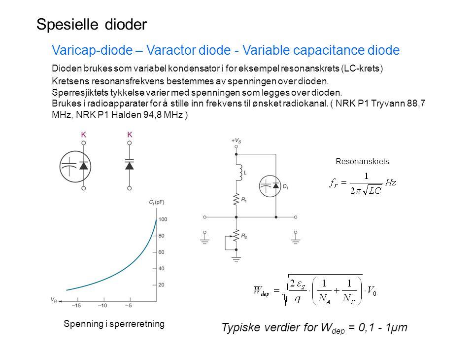 Spesielle dioder Varicap-diode – Varactor diode - Variable capacitance diode.
